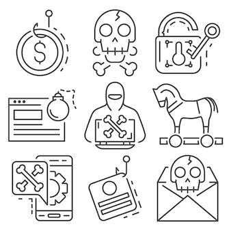 Значок фишинга установлен. наброски набор фишинговых векторных иконок