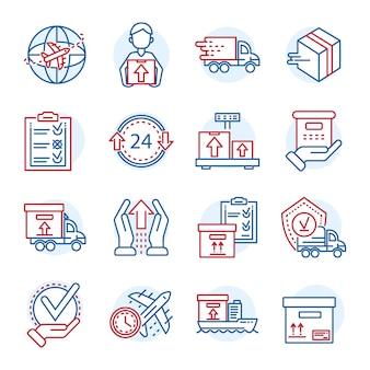 Набор иконок глобальной доставки посылок. схема набора глобальных посылок векторных иконок