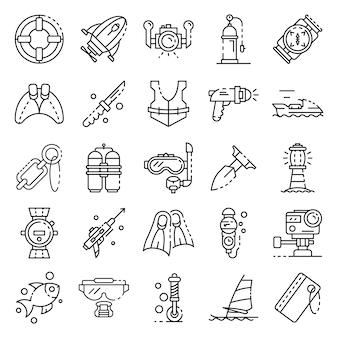 Набор иконок для подводного плавания оборудования. наброски набор подводного оборудования векторных иконок