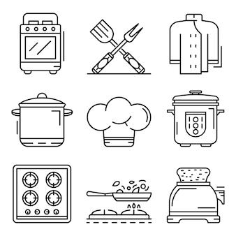 炊飯器のアイコンを設定します。炊飯器ベクトルアイコンのアウトラインセット