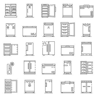 冷凍庫のアイコンを設定します。冷凍庫ベクトルアイコンのアウトラインセット