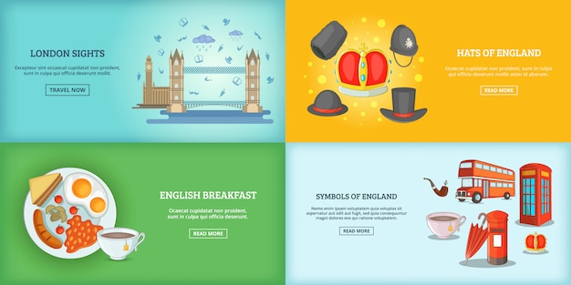 ロンドンのランドマーク的な建物のバナーやポスターセット