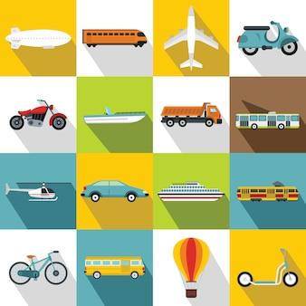 交通機関のアイコンセット、フラットスタイル