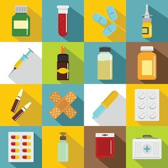 さまざまな薬のアイコンセット、フラットスタイル