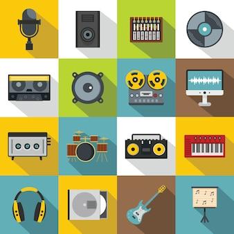 レコーディングスタジオアイテムのアイコンセット、フラットスタイル