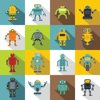 Набор иконок роботов, плоский стиль