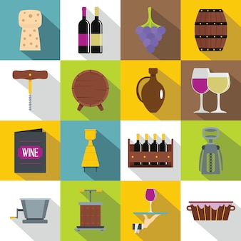 ワインのアイコンセット、フラットスタイル