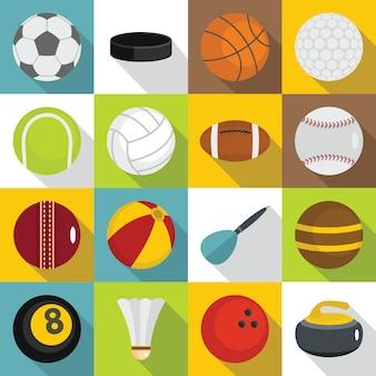 スポーツボールのアイコンセット、フラットスタイル