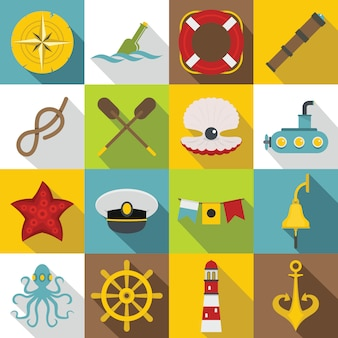 Набор морских значков, плоский стиль