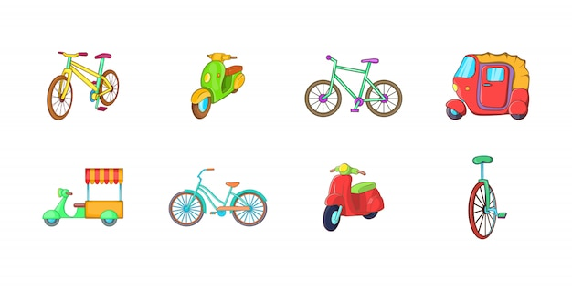 自転車要素セット。自転車ベクトル要素の漫画セット