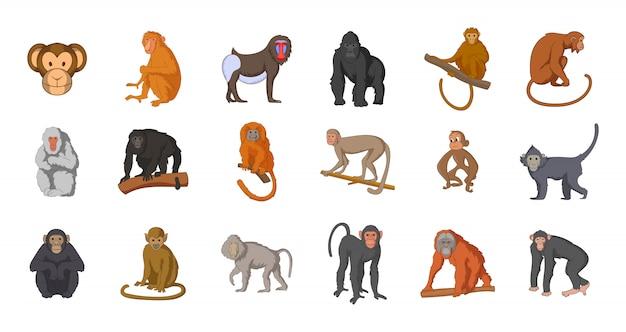 猿の要素セット。猿ベクトル要素の漫画セット