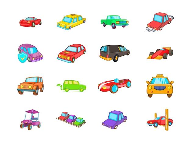 車の要素セット。車のベクトル要素の漫画セット