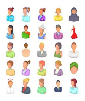 女性シルエット要素セット。女性シルエットベクトル要素の漫画セット