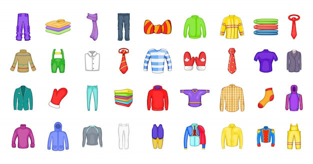 Набор элементов одежды. мультфильм набор одежды векторных элементов