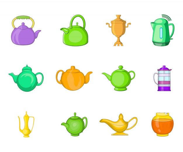 Набор элементов чайника. мультфильм набор векторных элементов чайника