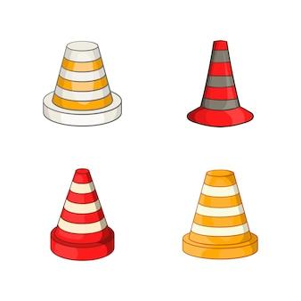 Набор элементов дорожного конуса. мультфильм набор векторных элементов дорожного конуса