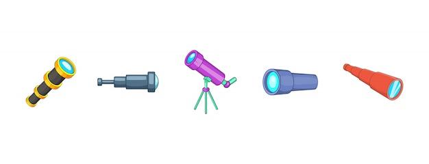 スパイガラス要素セット。スパイグラスベクトル要素の漫画セット