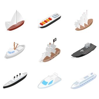 海の船のアイコンが白い背景に設定