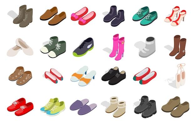 男と女の靴のアイコンが白い背景に設定
