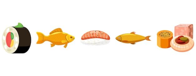 Рыбный корм установлен. мультяшный набор рыбной еды
