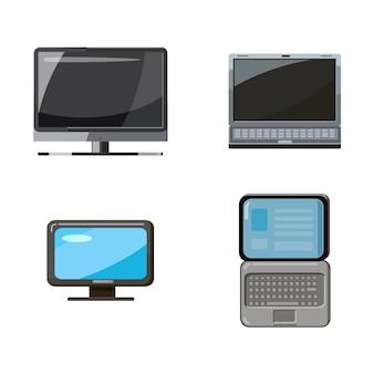 Пк и ноутбук установлены. мультяшный набор пк и ноутбука