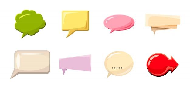 Набор речи пузырь. мультяшный набор речи пузырь