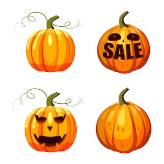 かぼちゃセット。ハロウィーンパーティーのためのカボチャの漫画セット