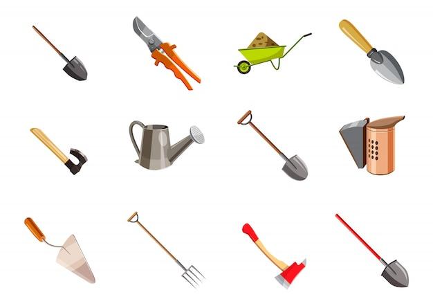 Набор элементов садовых инструментов. мультяшный набор садовых инструментов