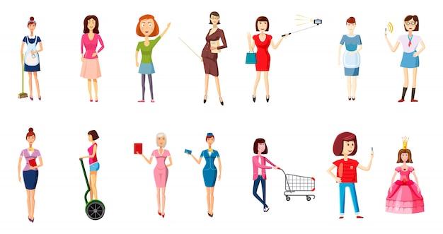 Набор символов женщина. мультяшный набор женщины