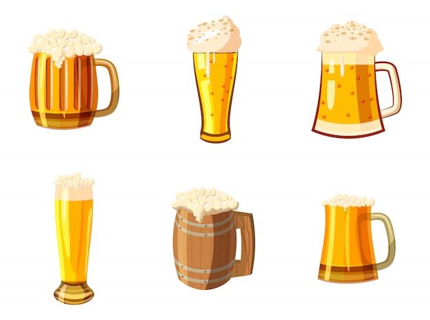 Стакан пива установлен. мультяшный набор бокал пива