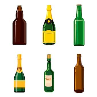 アルコールボトルセット。アルコールの瓶の漫画セット