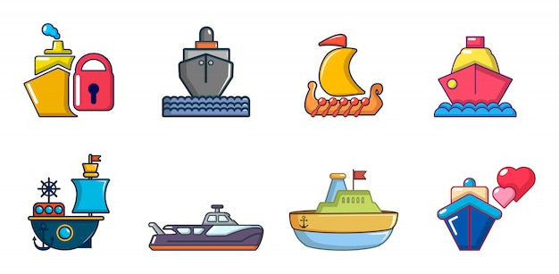船のアイコンを設定します。漫画の船のベクトルのアイコンセットの分離