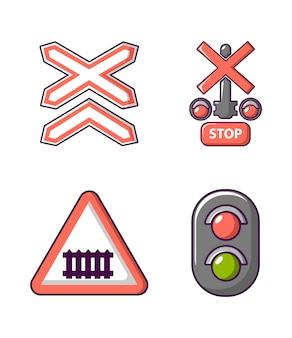 道路標識のアイコンを設定します。漫画道路標識ベクトルアイコンセット分離