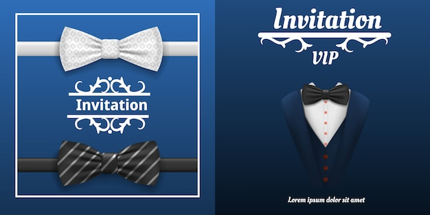 Элегантный баннер галстук-бабочка. реалистичные иллюстрации элегантный векторный баннер бабочки для веб-дизайна
