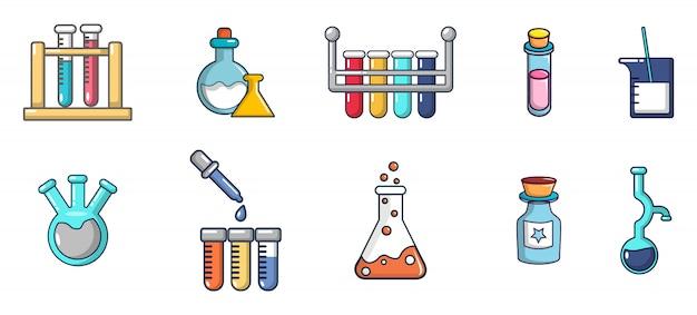 化学ポットのアイコンを設定します。化学鍋ベクトルアイコンセット分離の漫画セット