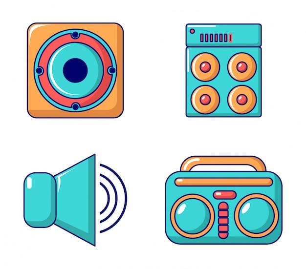 スピーカーのアイコンを設定します。分離されたスピーカーベクトルアイコンセットの漫画セット