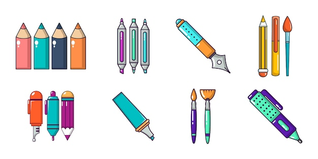 Значок ручки установлен. мультфильм набор ручек векторных иконок набор изолированных
