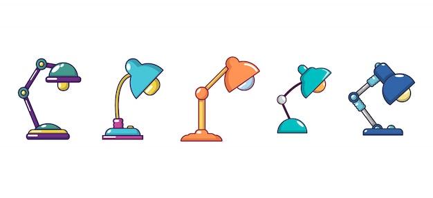 Настольная лампа значок набор. мультфильм набор настольных ламп векторных иконок, изолированных