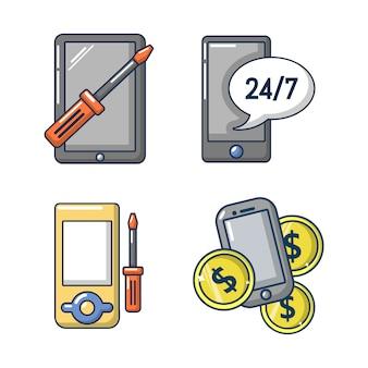 スマートフォンのアイコンを設定します。スマートフォンベクトルアイコンセットの漫画セット分離
