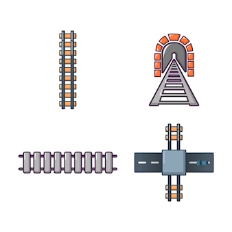 Железнодорожный значок набор. мультяшный набор железнодорожных векторных иконок, изолированных