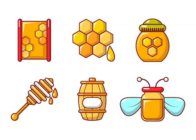 蜂蜜のアイコンを設定します。漫画セット蜂蜜ベクトルアイコンセット分離