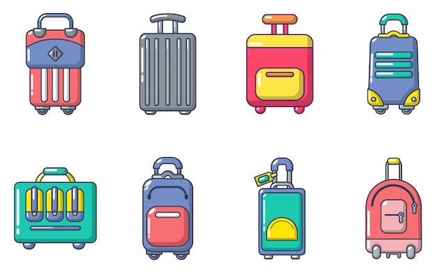 旅行バッグのアイコンを設定します。漫画旅行バッグベクトルアイコンセットの分離