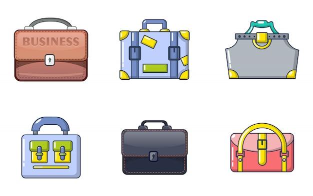 Сумочка значок набор. мультфильм набор сумок векторных иконок, изолированных