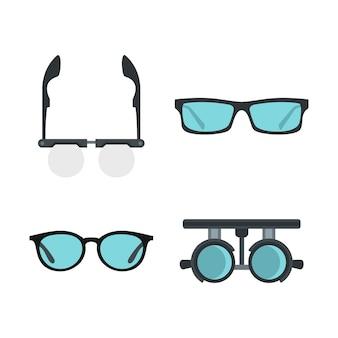 メガネのアイコンを設定します。分離されたメガネベクトルアイコンコレクションのフラットセット
