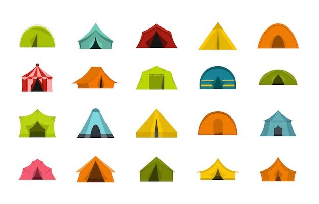 テントのアイコンを設定します。分離されたテントベクトルアイコンコレクションのフラットセット