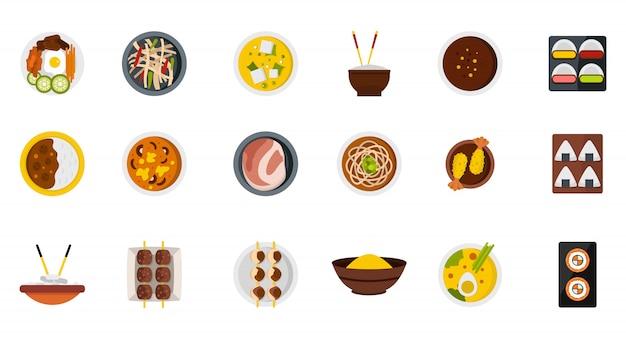 プレートアイコンセットの上に食べ物。分離されたプレートベクトルアイコンコレクション上の食べ物のフラットセット