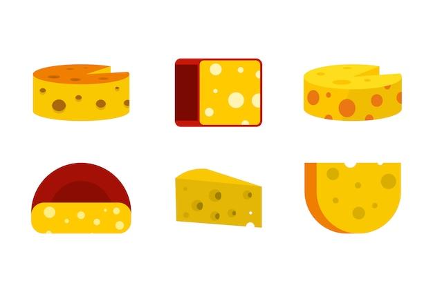 Сыр набор иконок. плоский набор сыра векторных иконок коллекции изолированных