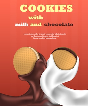 クッキービスケットミルクとチョコレートの垂直バナー