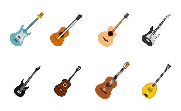 ギターのアイコンを設定します。分離されたギターベクトルアイコンコレクションのフラットセット