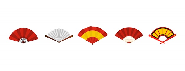 Значок вентилятора руки установлен. плоский набор ручной веер векторных иконок коллекции изолированы